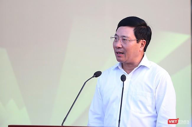 Phó Thủ tướng, Bộ trưởng Bộ Ngoại giao Phạm Bình Minh phát biểu tại Lễ khai trương Trung tâm báo chí Quốc tế APEC