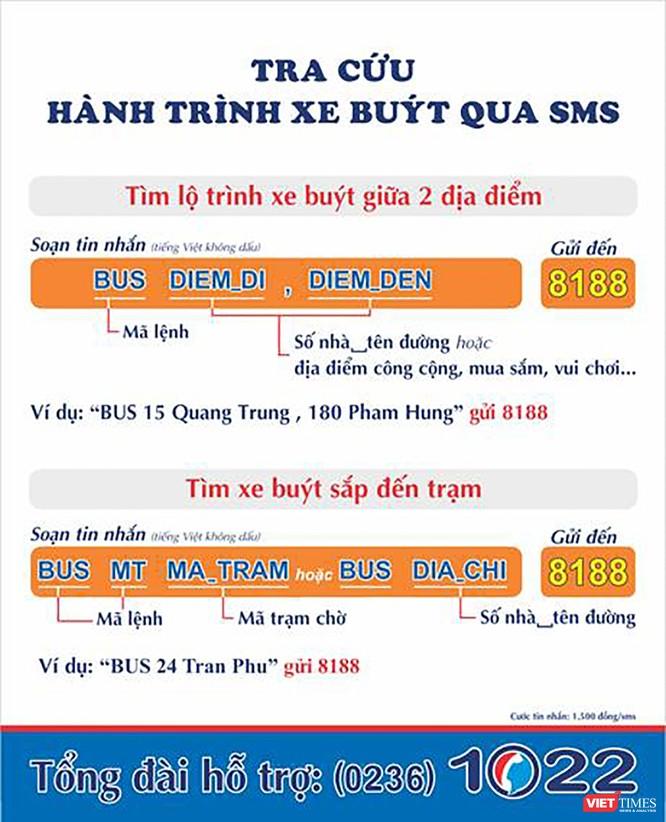 Cú pháp hướng dẫn tra cứu thông tin lộ trình xe buýt qua tin nhắn SMS