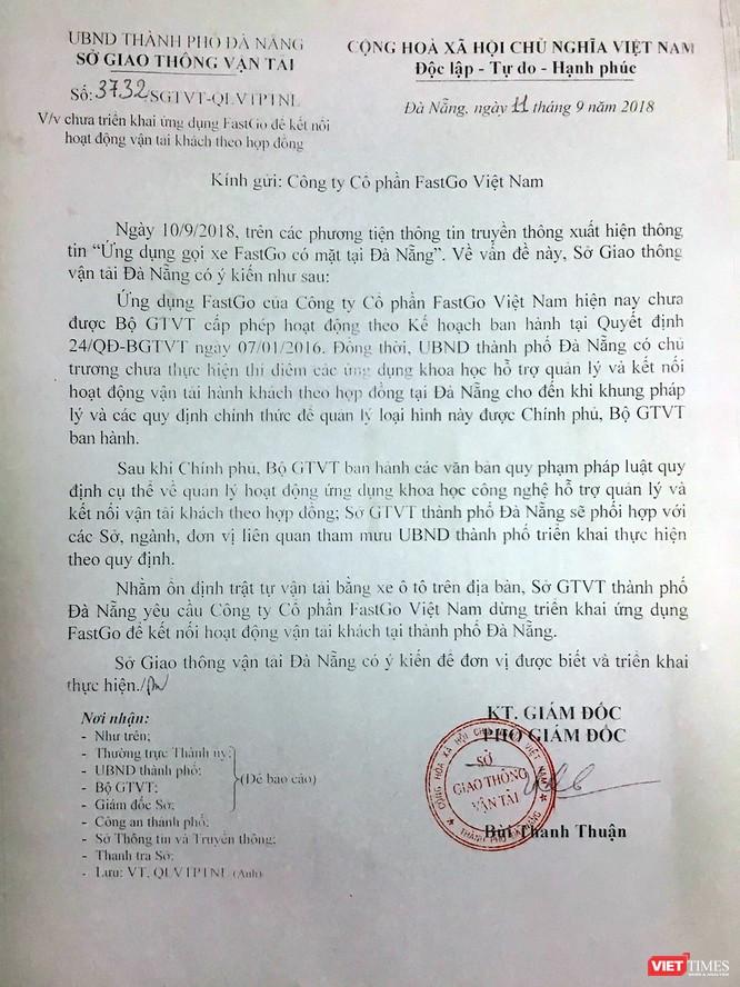 """Sở GTVT TP Đà Nẵng : FastGo triển khai """"chui"""" ứng dụng gọi xe tại Đà Nẵng? ảnh 1"""