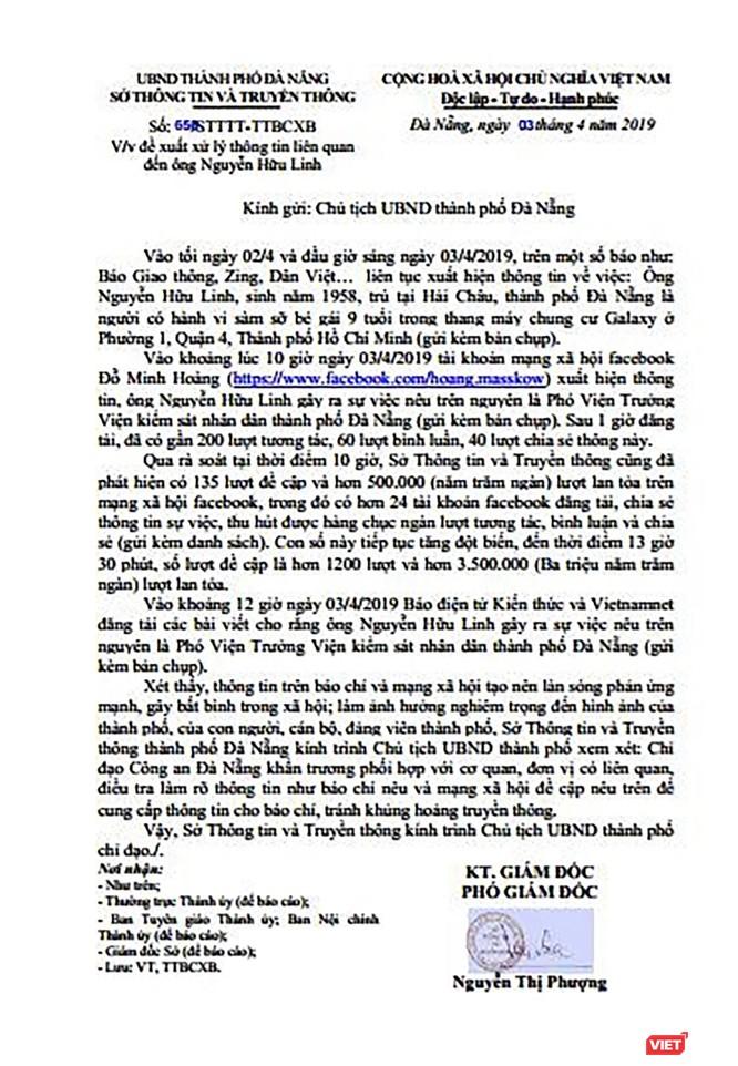 Lo ngại khủng hoàng truyền thông, Sở TT-TT TP Đà Nẵng kiến nghị Chủ tịch UBND TP Đà Nẵng chỉ đạo cơ quan Công an vào cuộc, sớm có thông tin cung cấp chính thống