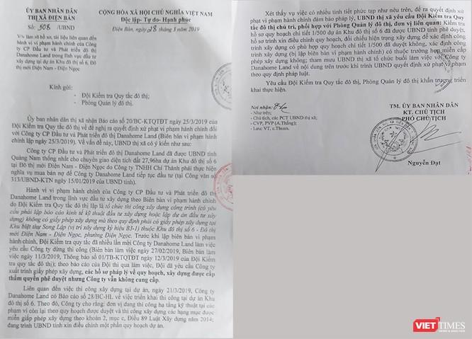 Văn bản của UBND thị xã Điện Bàn chỉ đạo làm rõ vụ việc xây dựng tại Khu biệt thự Song lập do DanaHome Land làm chủ đầu tư