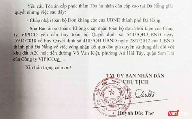 Thua kiện, Đà Nẵng kháng cáo bản án sơ thẩm trong vụ kiện đấu giá lô đất A20 của Vipico ảnh 1