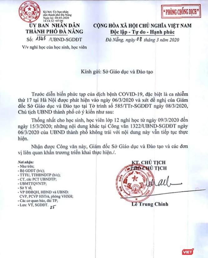 Khẩn: Đà Nẵng cho học sinh lớp 12 trên địa bàn nghỉ học tiếp đến 15/3 ảnh 1