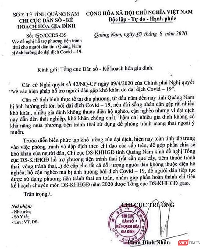 Quảng Nam thu hồi công văn xin phương tiện tránh thai cho người dân vùng dịch COVID-19 ảnh 1