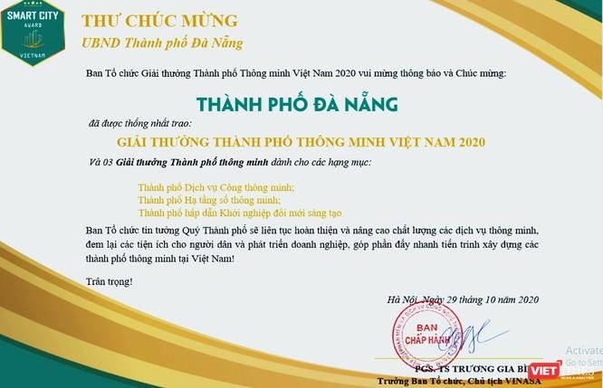 """Đà Nẵng giành nhiều giải thưởng lớn về """"TP thông minh năm 2020"""" ảnh 1"""