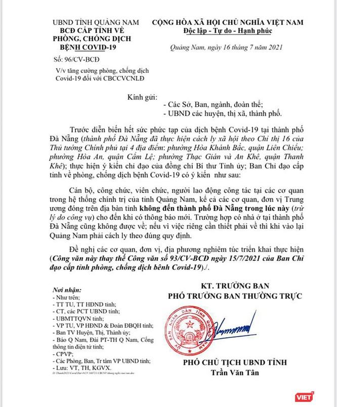 Quảng Nam khuyến cáo người dân, công chức không đến TP Đà Nẵng ảnh 1