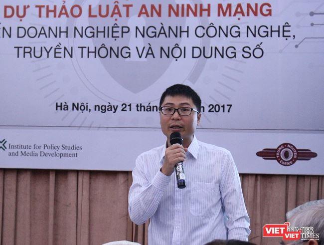 Thạc sỹ Nguyễn Quang Đồng báo cáo kết quả nghiên cứu Viện Chính sách và Phát triển truyền thông tại hội thảo