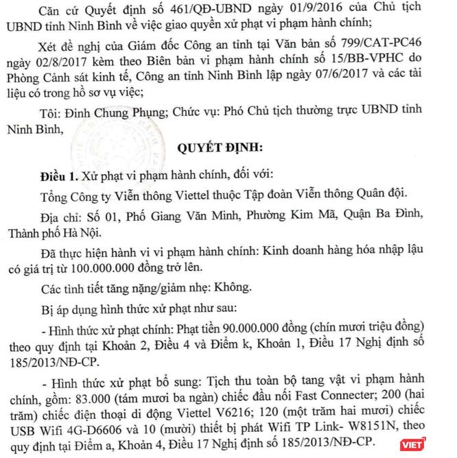Chậm cung cấp giấy tờ, Viettel bị phạt hành chính 90 triệu đồng ảnh 1