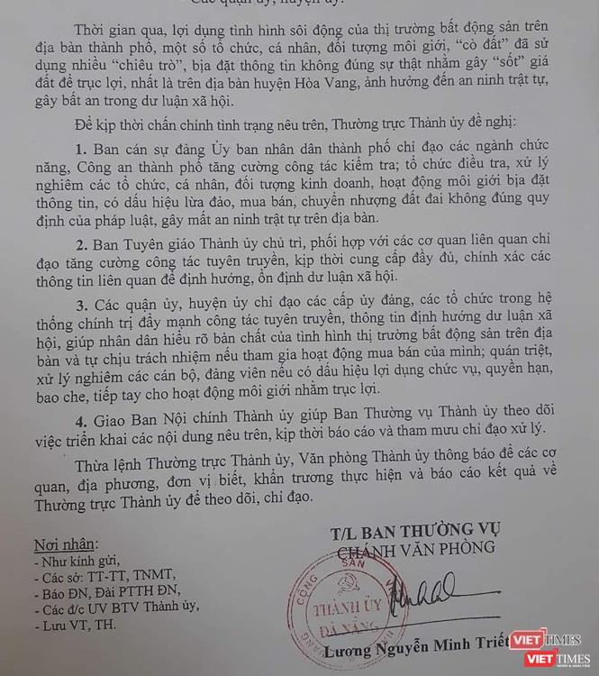 Thành ủy Đà Nẵng chỉ đạo xử lý nghiêm chuyện bịa đặt thông tin hòng đẩy giá BĐS ảnh 1