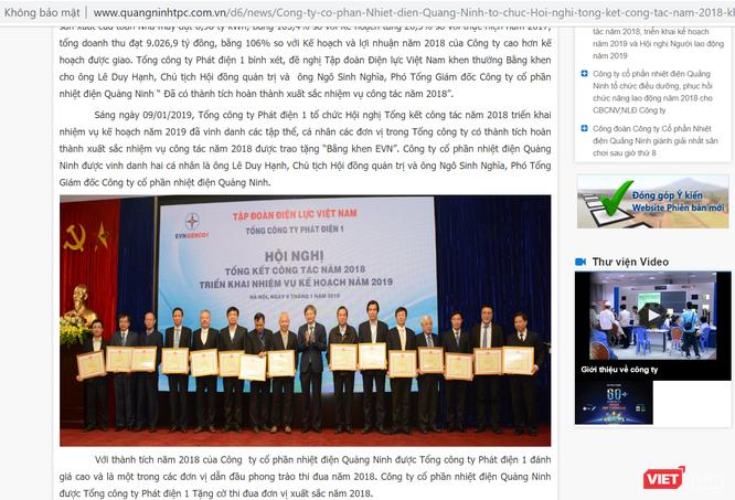 """Không lâu trước ngày bị bắt, Chủ tịch Nhiệt điện Quảng Ninh Lê Duy Hạnh đã được EVN tặng bằng khen vì """"hoàn thành xuất sắc nhiệm vụ"""" ảnh 1"""