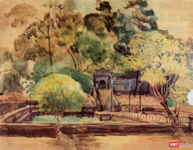 """Bức tranh """"Phong cảnh Huế"""" do gia đình họa sĩ Nam Sơn đang lưu giữ"""