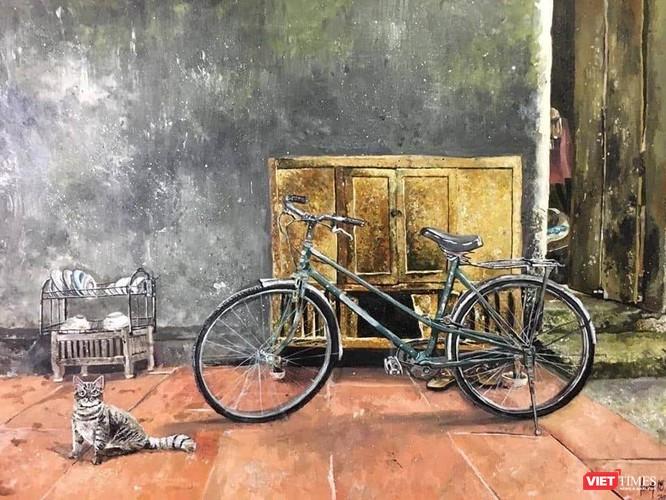 Tranh xe đạp giản dị của Long khiến nhiều người xúc động