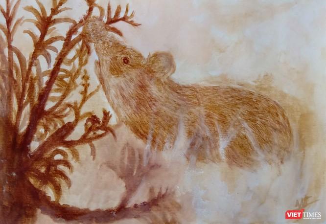 Độc đáo tranh chuột đón Tết Canh Tý vẽ bằng màu hoa, tương ớt, cà phê ảnh 1