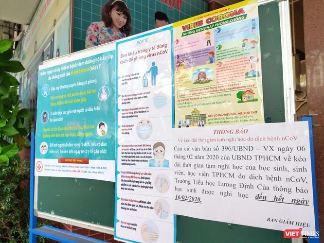 Thông báo của Trường tiểu học Lương Định Của (Quận 3) cho học sinh nghỉ hết ngày 16/2, đồng thời hướng dẫn phòng tránh virus Corona