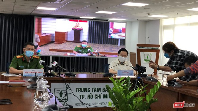 Thượng tá Nguyễn Đăng Nam, Trưởng phòng Cảnh sát Hình sự, Công an TP.HCM tại buổi họp báo