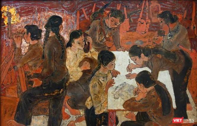 """""""Dân quân gái Ngư Thủy"""" do họa sĩ Hoàng Trầm sáng tác năm 1971"""