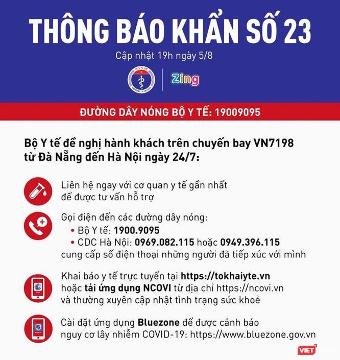 Thông báo khẩn số 23 vừa được Bộ Y tế phát đi sáng nay (Ảnh: BYT)