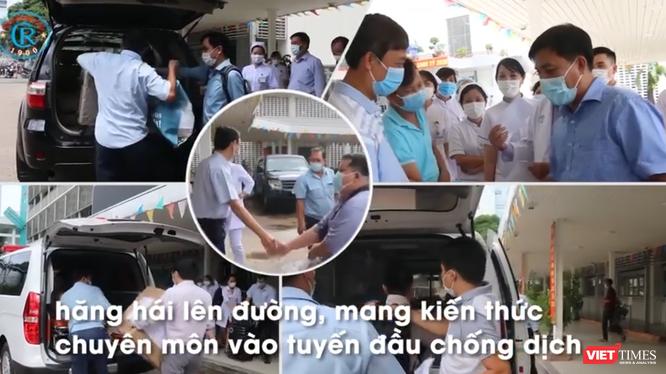 BS, y tá, nhân viên y tế BV Chợ Rẫy lên đường hỗ trợ miền Trung chống dịch (Ảnh: Hòa Bình chụp màn hình video)