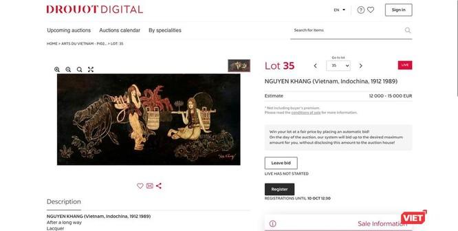 Tranh giả mạo danh Nguyễn Khang khiến gia đình họa sĩ bức xúc (Ảnh trên trang cá nhân của họa sĩ Nguyễn Quế Hương chụp lại màn hình của nhà đấu giá