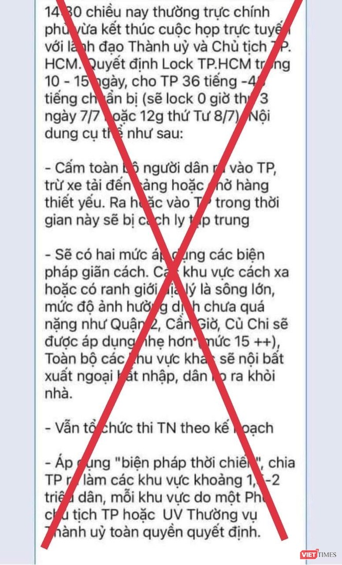 """Tin đồn """"lock TPHCM trong 10-15 ngày"""" là sai sự thật ảnh 1"""