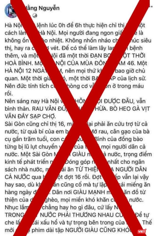 """Chủ tài khoản """"Hằng Nguyễn"""" bị phạt 5 triệu đồng vì đăng tin gây hoang mang dư luận ảnh 1"""