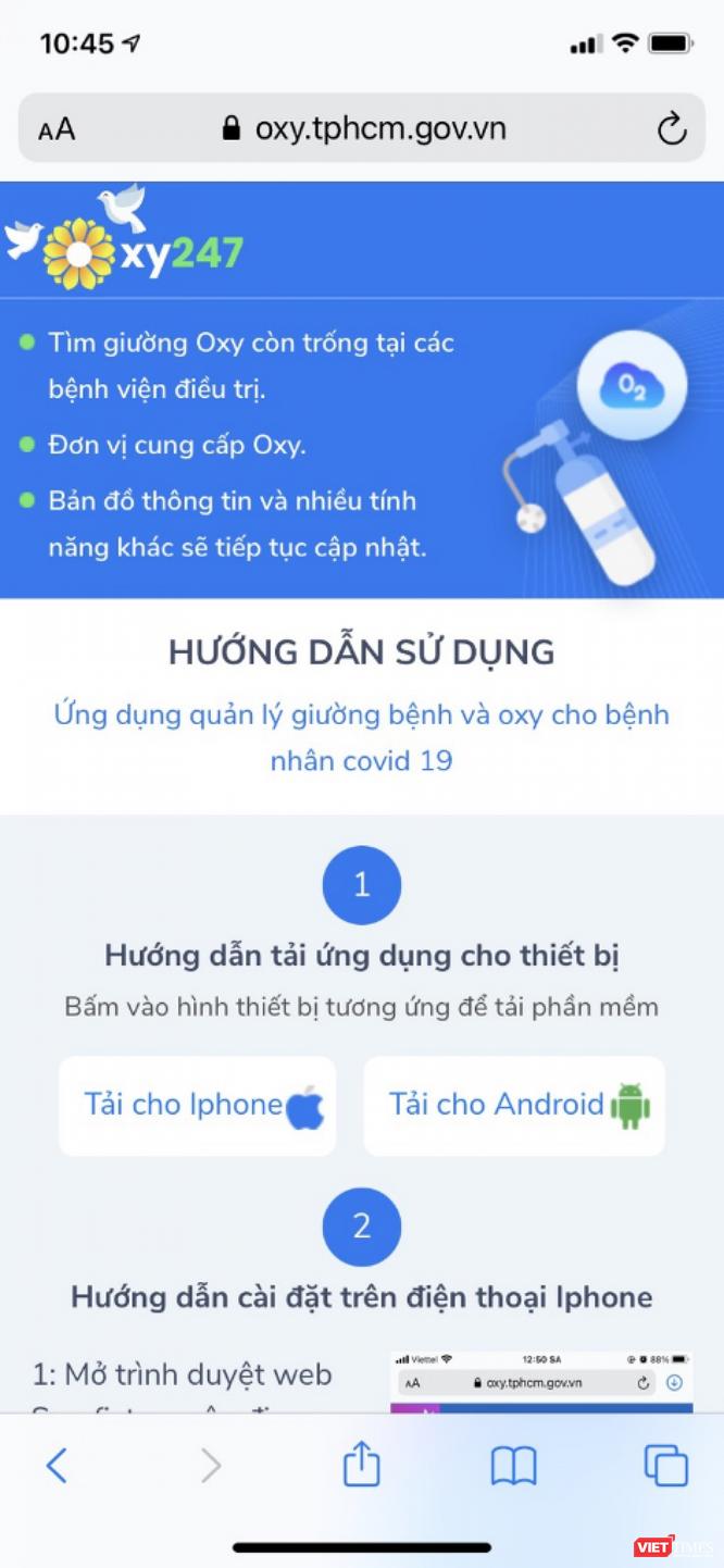 TP.HCM: Ra mắt app Oxy 247 tìm giường Oxy cho bệnh nhân COVID-19 ảnh 1