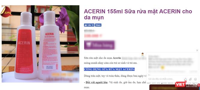 Đình chỉ lưu hành toàn quốc lô sữa rửa Acerin do không đạt chất lượng ảnh 1