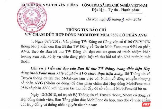 Báo cáo Ban Bí thư về việc hủy bỏ thỏa thuận chuyển nhượng cổ phần giữa MobiFone và AVG ảnh 1