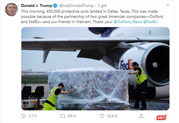 Tổng thống Trump cảm ơn Việt Nam phối hợp cung cấp 450.000 bộ bảo hộ chống COVID-19 ảnh 1