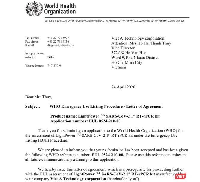 WHO công nhận chất lượng bộ kit xét nghiệm COVID-19 của Việt Nam ảnh 1