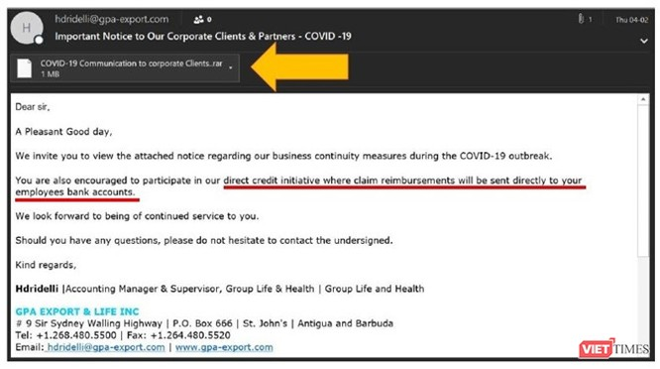 Một ví dụ về email lừa đảo được phát hiện bởi Kaspersky. Ảnh chụp màn hình - Kaspersky