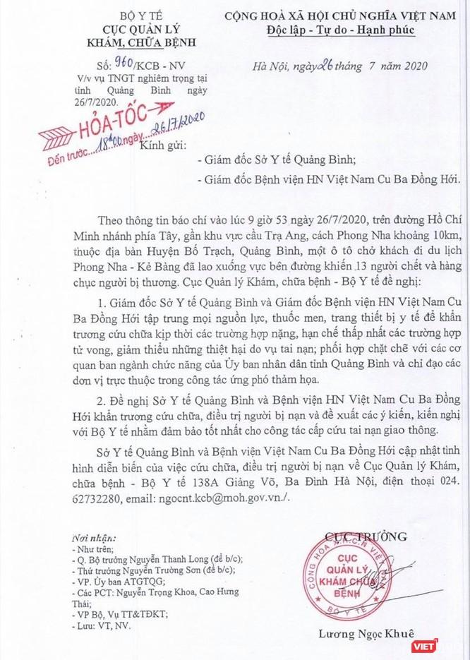 Vụ TNGT nghiêm trọng tại Quảng Bình: Bộ Y tế yêu cầu nhiều đơn vị phối hợp cấp cứu nạn nhân ảnh 1