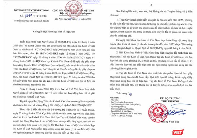 Bộ Thông tin và Truyền thông vào cuộc vụ giải thể Thời báo Kinh tế Việt Nam ảnh 1