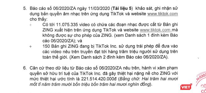 VNG kiện TikTok yêu cầu bồi thường hơn 221,5 tỷ đồng vì vi phạm bản quyền nhạc trên Zing ảnh 2