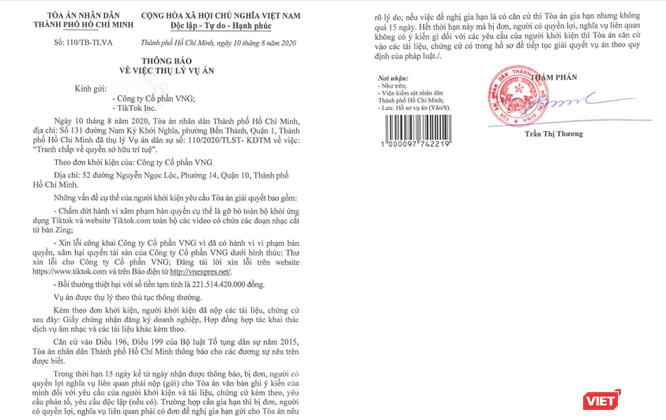 VNG kiện TikTok yêu cầu bồi thường hơn 221,5 tỷ đồng vì vi phạm bản quyền nhạc trên Zing ảnh 1