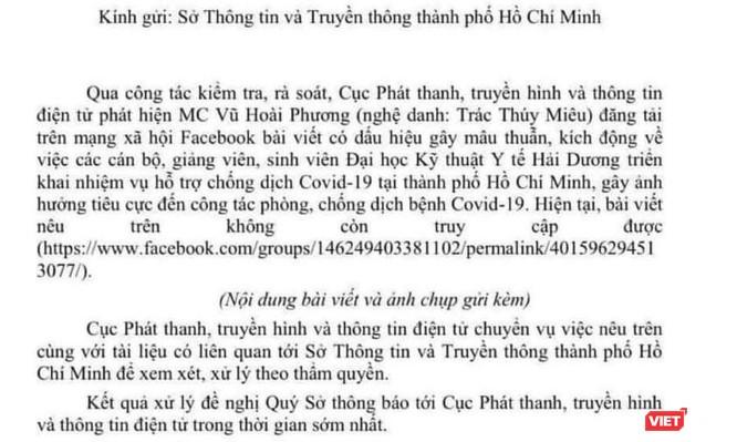 MC Trác Thuý Miêu bị đề nghị xử lý vì mỉa mai sinh viên Hải Dương vào TP.HCM chống dịch COVID-19 ảnh 1