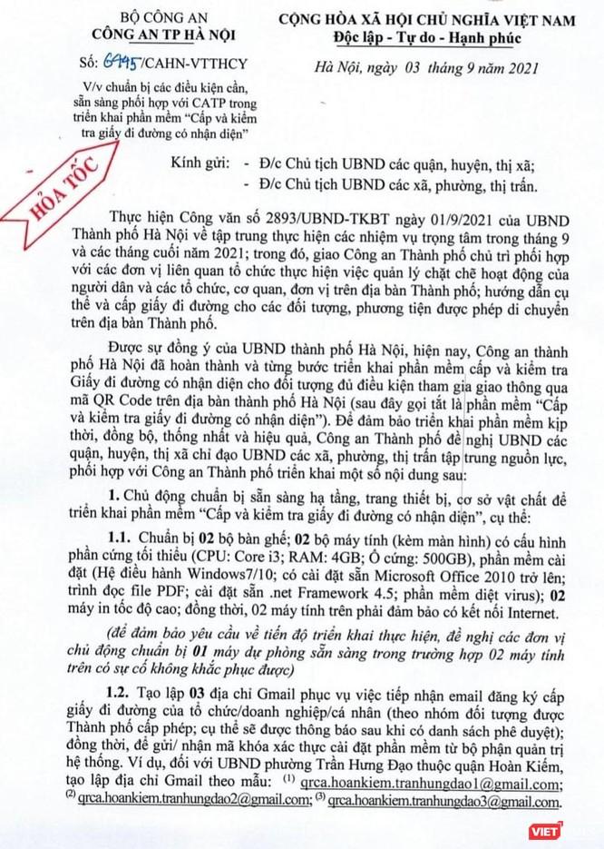 Công an Hà Nội phát công văn hoả tốc yêu cầu chuẩn bị việc cấp và kiểm tra giấy đi đường có QR code ảnh 1