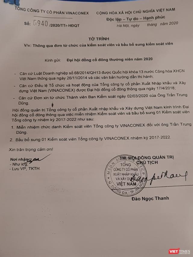 Tờ Trình miễn nhiệm ông Trần Trung Dũng không đề ngày tháng lập và cũng không dự kiến ứng viên thay thế