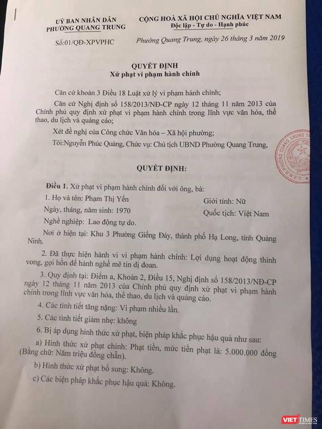 Xử phạt hành chính ban đầu với bà Phạm Thị Yến số tiền 5 triệu đồng.