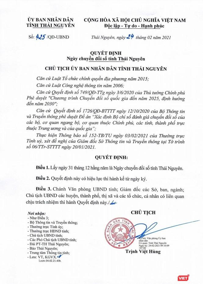Thái Nguyên là tỉnh đầu tiên trên cả nước có Ngày chuyển đổi số ảnh 1