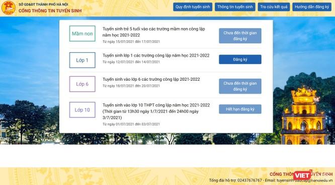 Hướng dẫn đăng ký trực tuyến tuyển sinh đầu cấp các trường công lập năm học 2021-2022 tại Hà Nội ảnh 1