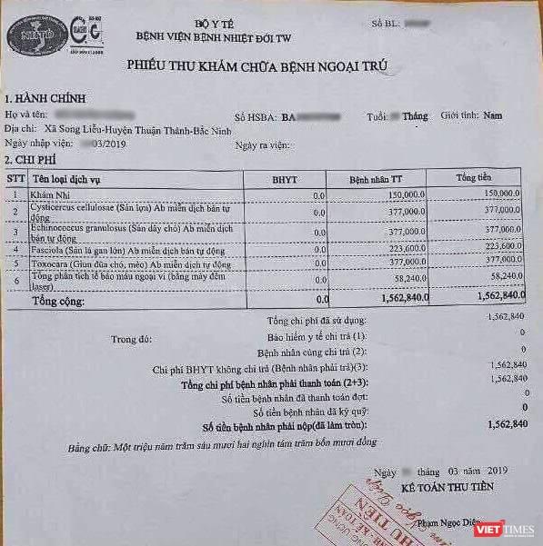 Phiếu xét nghiệm của một cháu bé có chi phí 1,562 triệu đồng