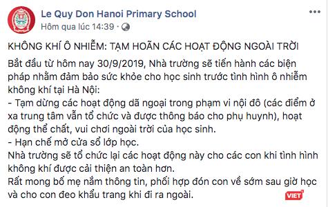 Hà Nội: Không khí ô nhiễm, trường học yêu cầu tạm hoãn các hoạt động ngoài trời ảnh 1