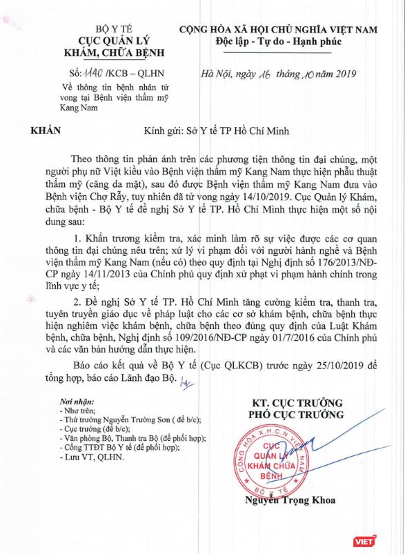 """Bộ Y tế """"vào cuộc"""" vụ bệnh nhân tử vong sau khi căng da mặt ở Bệnh viện thẩm mỹ Kang Nam ảnh 1"""