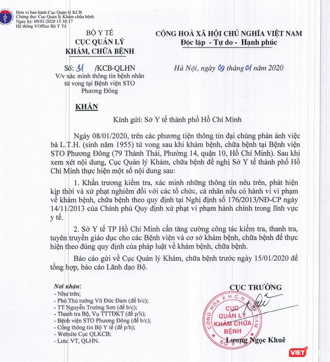 Bộ Y tế yêu cầu làm rõ trường hợp nữ bệnh nhân tử vong sau khi chữa gãy xương tại Bệnh viện STO Phương Đông ảnh 1