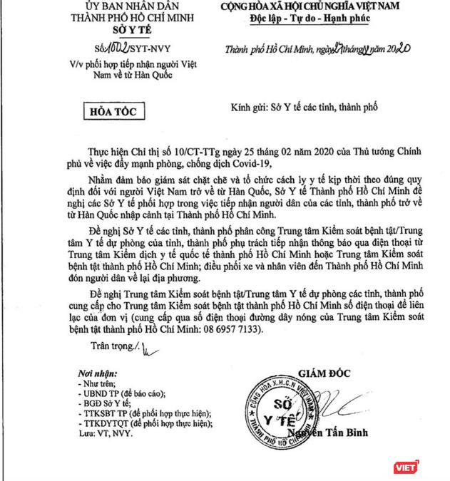 TP. Hồ Chí Minh có công văn hỏa tốc đề nghị hỗ trợ tiếp nhận người Việt trở về từ Hàn Quốc ảnh 1