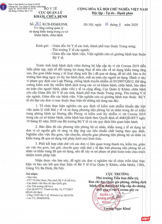 Bộ Y tế nghiêm cấm việc thu gom, vận chuyển khẩu trang đã qua sử dụng ảnh 1