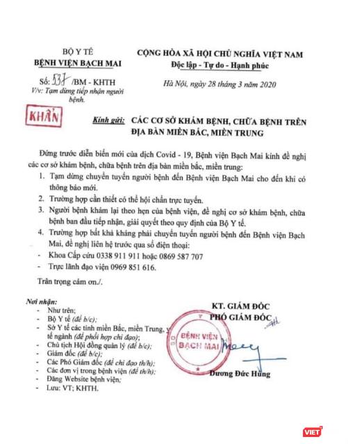 Thông báo khẩn thứ 2 trong ngày của Bệnh viện Bạch Mai sau 4 ca nhiễm virus Corona ảnh 1