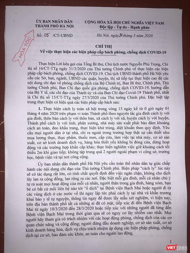 Chủ tịch Hà Nội yêu cầu người dân Thủ đô tự giác cách ly để phòng COVID-19 ảnh 2