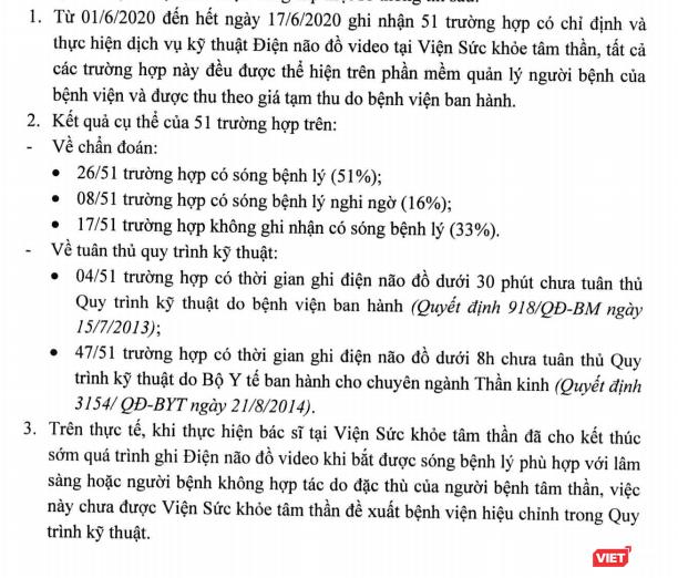Bệnh viện Bạch Mai nói gì về việc đo điện não video chưa đầy 60 phút? ảnh 1